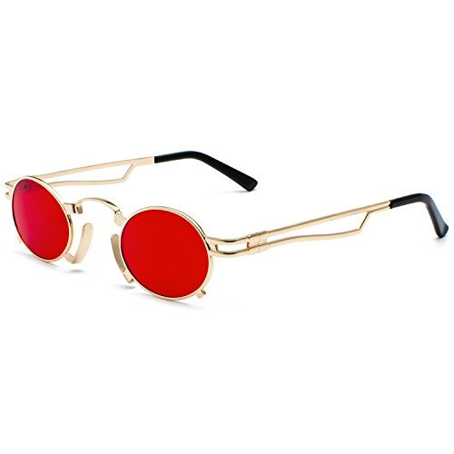 Small Punk Vintage Glasses Sunglasses Cosplay Gothic Glasses Red Unisex Punk Goggles CVOO Steam Men Eyewear BFwSCnxqBY