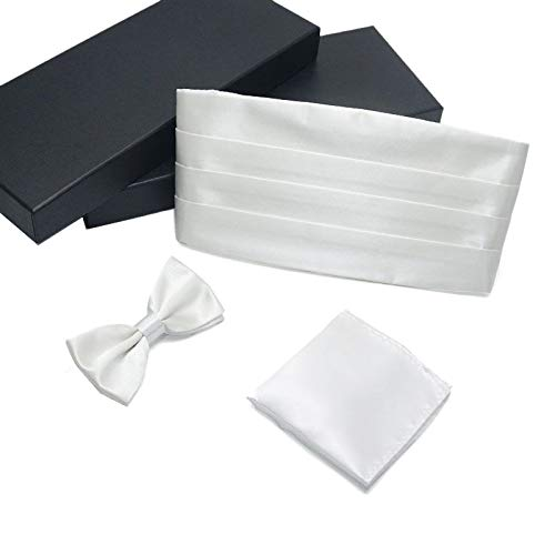 AWAYTR Formal Solid Pre-tied Bow Tie & Pocket Square & Cummerbund Set (White)
