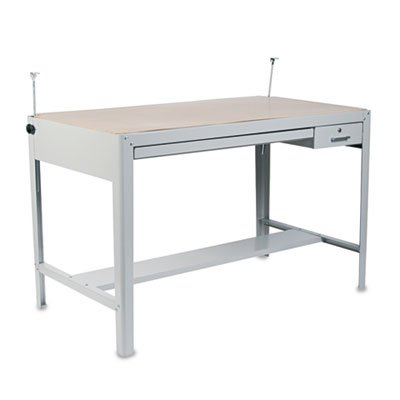 (Precision Four-Post Drafting Table Base, 56-1/2w x 30-1/2d x 35-1/2h, Gray, Sold as 1 Each)