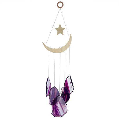 mookaitedecor Purple Agate Slices Wind Chimes for Home Garden Decoration 15-19 Inches (Moon Chime)