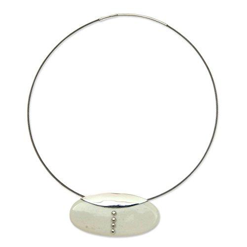 NOVICA .925 Sterling Silver Cow Bone Pendant Necklace, 18.75