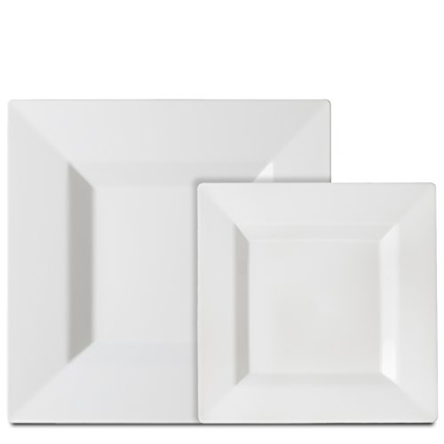 Premium 40 Pack White Square Plastic Plates - Includes 20 Dinner Plates and 20 Salad Plates by Alpha & Sigma (Square Dishes Fiesta)