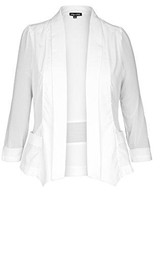 Designer Plus Size Drapey Blazer Jacket - Ivory - 24 / XXL | City Chic