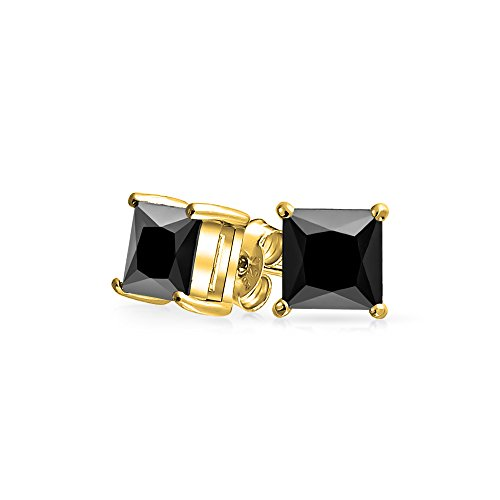 .75CT Black Square Cubic Zirconia Princess Cut AAA CZ Stud Earrings For Men 14K Gold Plated 925 Sterling Silver 5MM