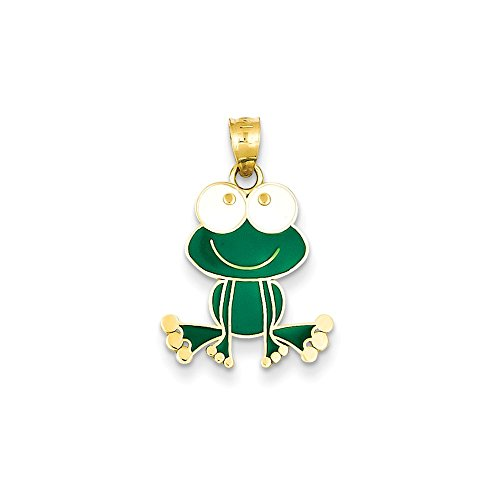 Solid 14k Yellow Gold Green and White Enameled Frog (15mm x (14k Solid Yellow Gold Frog)