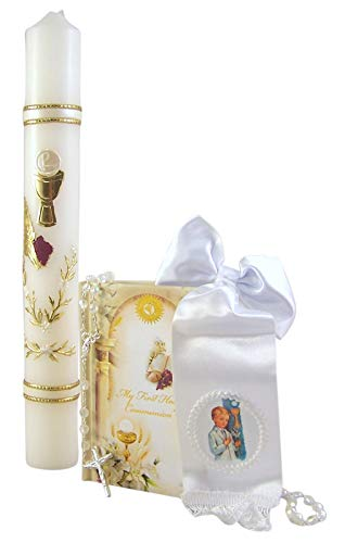 Boys My First Holy Communion Candle Gift Set with Mass Book, Rosary, and Bow - Communion First Candle Holy