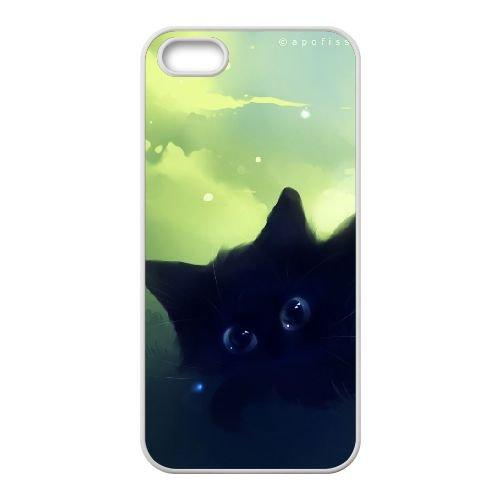C4T28 rêveuse peinture kitty noir O9O1YT coque iPhone 5 5s cellulaire cas de téléphone couvercle coque blanche KR8FEE7SP