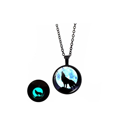 Howling Wolf Moon Luminous Necklace Women Glass Dome Cabochon Pendant Glow In The Dark Jewelry (black)