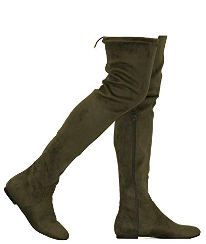 (MVE Shoes Womens Fashionable Flat Over The Knee Boots - Comfortable Suede Adjustable Boots, Olive Suede 7)
