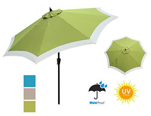 APEX GARDEN Dual Color 9 ft 8 Ribs Outdoor Patio Table Market Umbrella Push Button Tilt and Crank Lift, Oasis Green ()