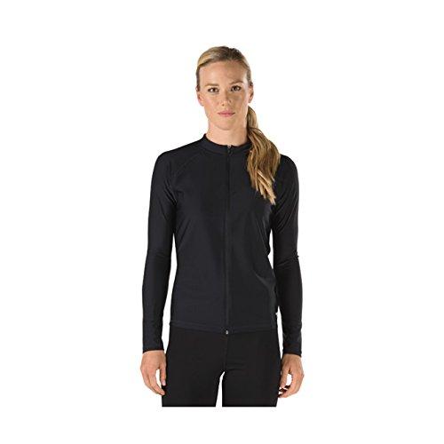 Speedo Women's UPF 50+ Long Sleeve Zip-Front Rashguard, Black, Large