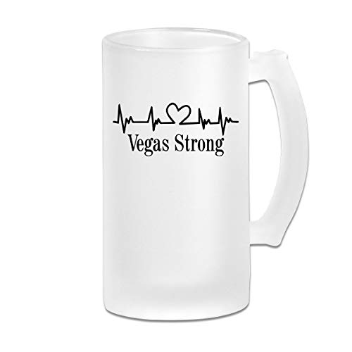 Personalized Custom Coffee Mugs Cup,Vegas Strong DIY Print Glass Beer Water Cup Thermal Mug Teacups For Travel Birthday Party Gift (Frosted Glass, 500 Ml,16 Oz) (Vegas Beer Wedding Party)