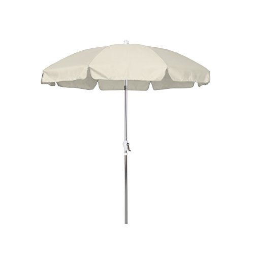 California Umbrella 7.5' Round Aluminum Patio Umbrella with Valance, Crank Lift, 3-Way Tilt, Silver Pole, Antique Beige Olefin 7.5' Crank