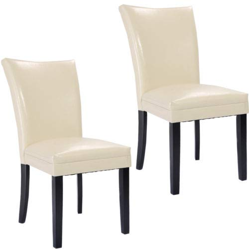 - Set of 2 PU Leather Accent Dining Chairs Elegant Modern Design Home Furniture with Ebook
