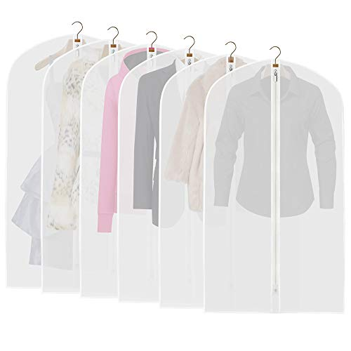 Garment Clear (ETERNLEAF Garment Bags Clear 24'' x 43'' Suit Bags (Pack of 6) Breathable Moth Proof Garment Covers with Full Zipper for Closet Storage and Travel [Upgraded])