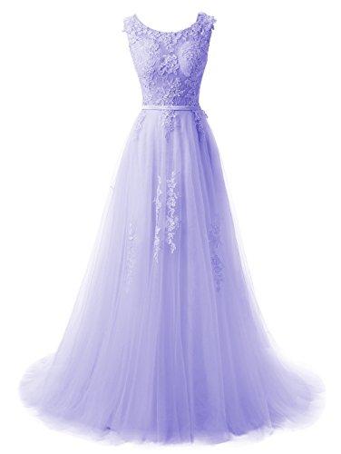 Callmelady V Damen Lang Spitze Abiballkleid Lavendel Ballkleider zurück Linie A Abendkleid nrwxg8nH