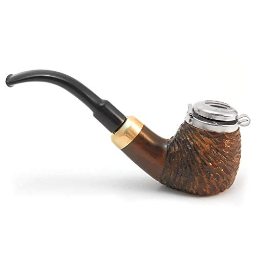 Mr. Brog Full Bent Smoking Tobacco Pipe - Model No: 21 Old Army Walnut Rusticated - Pear Wood Roots - Hand Made ()
