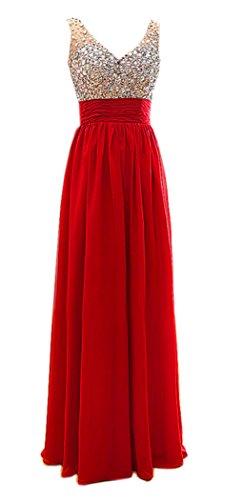 Rot V Kmformals Kleid Ausschnitt Abendkleid Perlen Kristalle formale w0WAUWxgqB