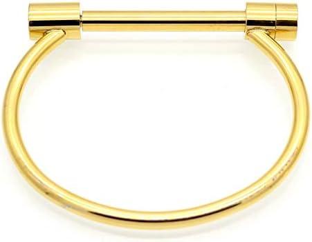 QEPOL Stainless Steel D Shape Bar Screw Shackle Horseshoe Novelty Fashion Bangle Bracelet Jewelry Unisex Couple Gift
