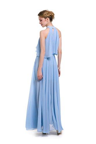 ... GWELL Elegant Damen Chiffon Maxikleid Neckholder Ärmellos Sommer  Frühling Kleider Abend Cocktailkleid Lang Brautjungfernkleid Blau xhW0VKG  ... 31ead4e458