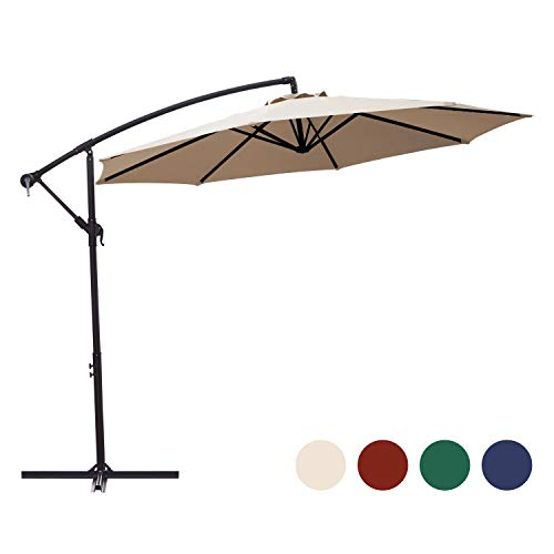 KINGYES 10ft Patio Offset Cantilever Umbrella Market Umbrella Outdoor Umbrella Cantilever Umbrella,with Crank & Cross Base (Beige)