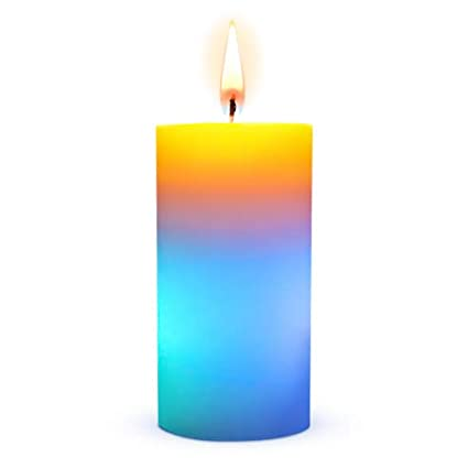 Colorful Candle Wax, Real Flame That Activates LED Multicolor Candle Light,  Color Changing Pillar Candle Burns Up To 20h, Unscented Large Tall Led ...