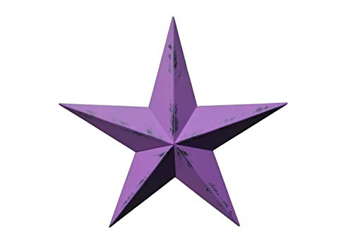 AMISH WARES 10 Inch Heavy Duty Metal Barn Star Painted Rustic Purple Orchid. -