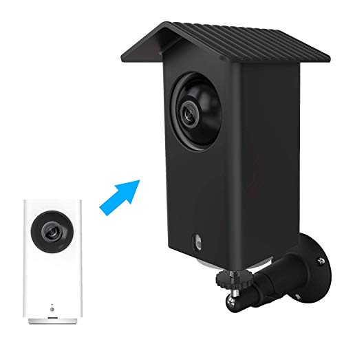 MOFAD Wyze Cam Pan Wall Mount, Weather Proof Anti-Sun Glare and UV Protection Outdoor/Indoor Adjustable Bracket with Silicone Cover Skins Protective Case for Wyze Cam Pan 1080p Security Camera (Black) (Premium Cover Case Skin Silicone)