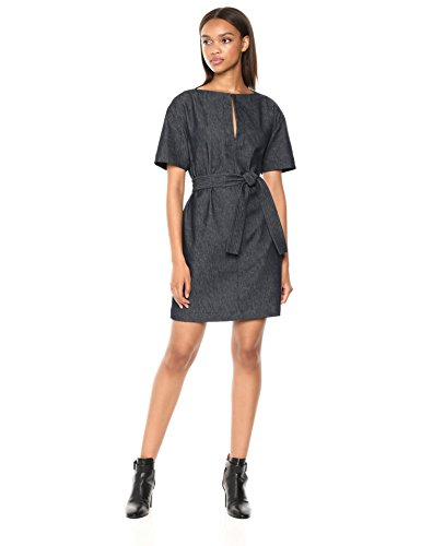 Theory Women's Short Sleeve Belted Shift Dress, Navy, ()