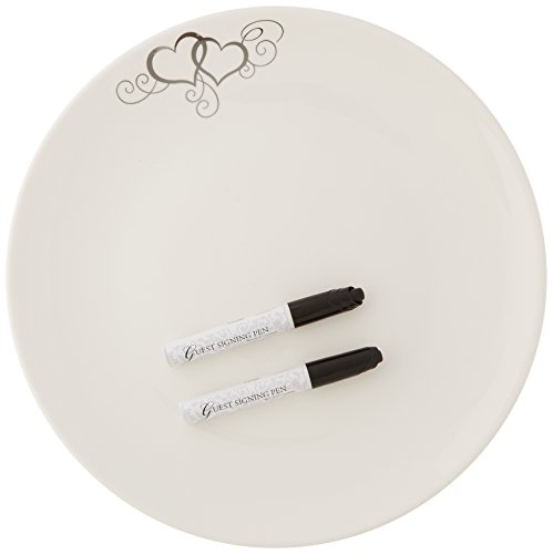 Lillian Rose 12-Inch Round Silver Heart Guest Signing Platter with 2 Pens