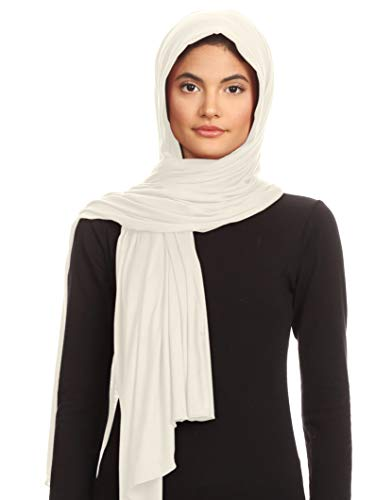 Abeelah Jersey Hijab Veil Scarf - Made in the USA - Islamic, Muslim, African and Indian Fashion Compatible (Ivory- White)
