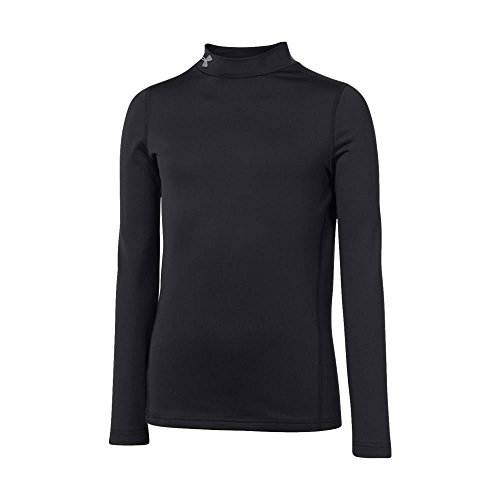 Under Armour Boys' ColdGear Armour Fitted Mock Shirt, Black/Steel, Youth Medium
