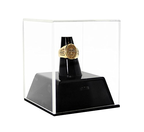 Deluxe Clear Acrylic Championship School Ring Display Case with Drawer and Black Acrylic Ring Holder (A064-A) ()