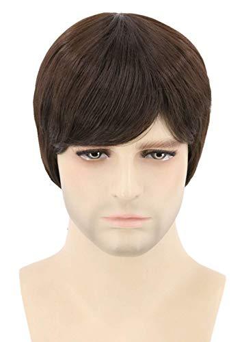 Topcosplay Short Brown Wigs for Men or Child Beatles Britpop Wig Halloween Costume Wigs