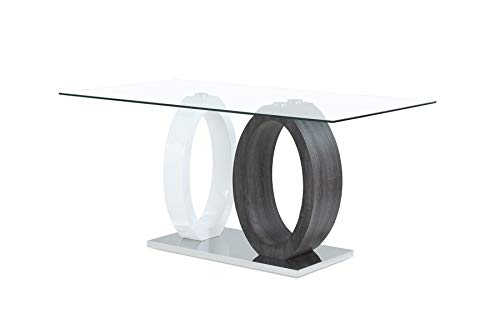 Global Furniture USA D1628DT Oval Base Dining Table, Gray ()