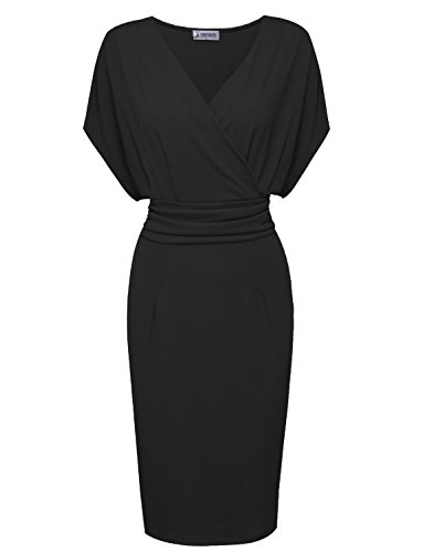 Tom's Ware Women Pleated Waist Surplice Neckline Bodycon Midi Dress TWCWD133-BLACK-US XXL