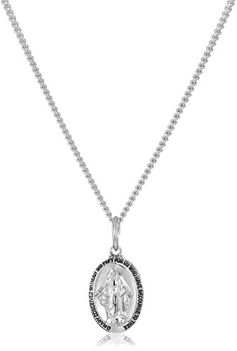 (Sterling Silver Miraculous Medal with Stainless Steel Chain Pendant Necklace, 18