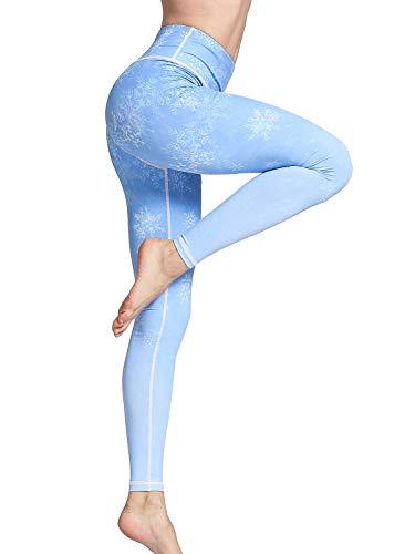 (FLYILY Women Yoga Leggings High Waist Star Printed Pants Sports Fitness Running Workout Leggings(FBA) (Snowflake, Medium(Waist 26