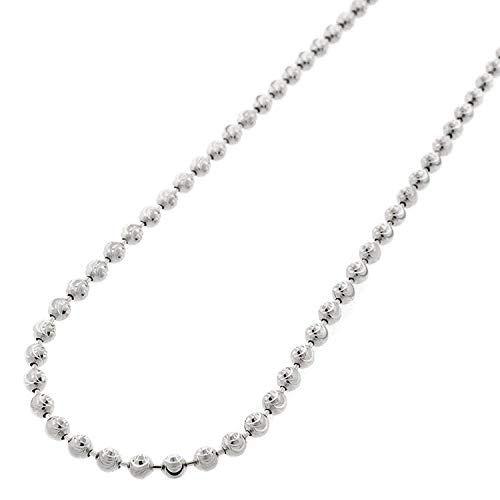 Authentic Solid Sterling Silver 3mm Moon-Cut Ball Bead .925 Rhodium Beaded Necklace Chain 16