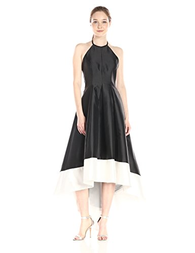 Band Hem Dress (Carmen Marc Valvo Infusion Women's Mikado Hi Lo Halter Dress With Contrast Color Band At Hem, Black/White, 2)
