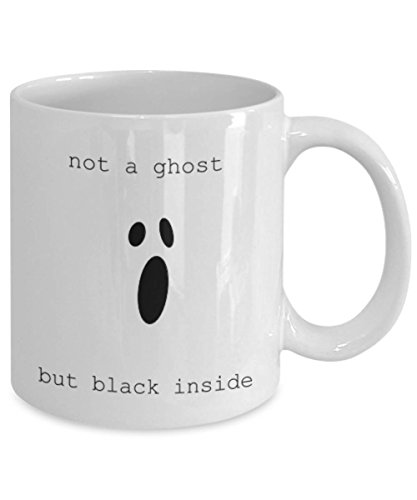 SAYOMEN - Cute Halloween Mug, Not a ghost but black inside, Halloween gift for coffee lovers, Cute gift for coworker, Teacher gift, Gift for writers MUG 11oz -