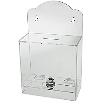 Source One Clear Face Donation Box Ticket Box Collection Box Counter Top or Wall Mount Use (Clear)