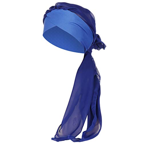 Women Solid India Hat Muslim Ruffle Cancer Chemo Beanie Turban Wrap Scarf Cap Blue