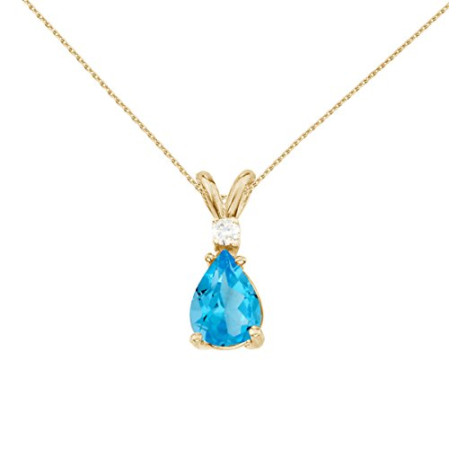 14k Yellow Gold Pear Shaped Blue Topaz and Diamond Pendant with 18