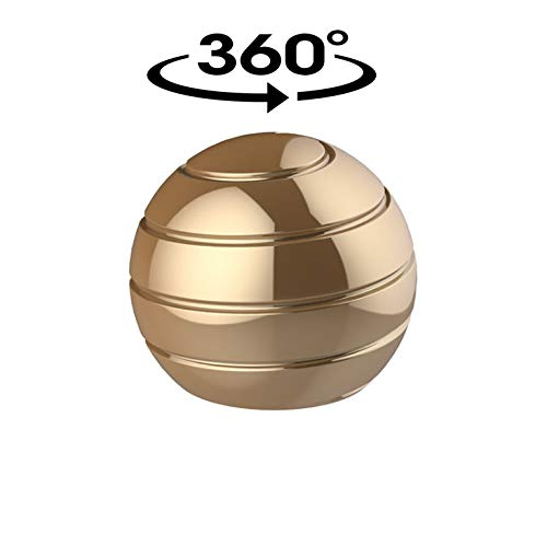PARAWEYSE Desk Fidget Toys Stress Relief Kinetic Toy Optical Illusion Relaxing Metal Spinner Ball for ADHD Eliminate Anxiety Kids and Adult , Gold by PARAWEYSE (Image #2)