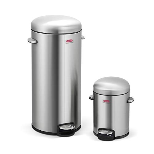 Innovaze Step Trash Can, Round Retro Stylish Bin with Plastic Inner Bucket for Bathroom Kitchen and Office - 5 Liter + 30 Liter Combo (Retro) 30l Retro Pedal Bin