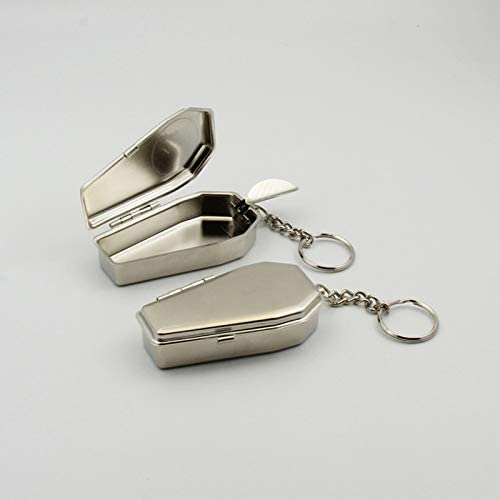 EUEMCH 車の灰皿の形のボタンが付いている携帯用灰皿の金属のキーホルダー
