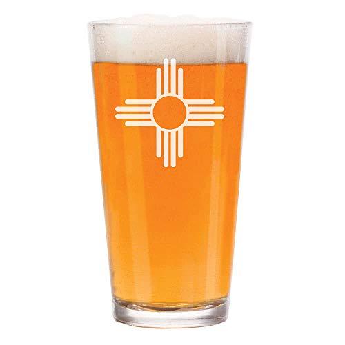 16 oz Beer Pint Glass New Mexico Sun Symbol ()