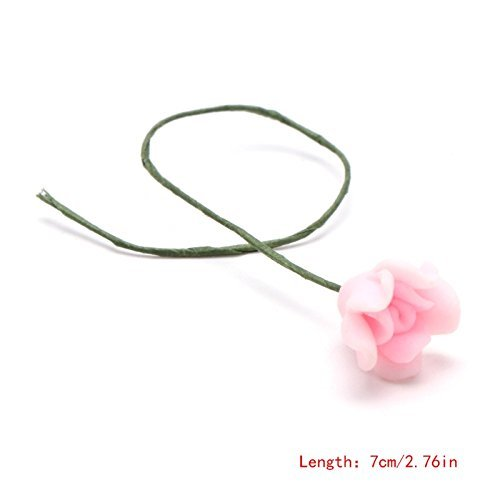Pink Rose : 7 Styles Mini Flower Miniature Dollhouse Bonsai Craft Garden Micro Landscape DIY Decor M15 Pink Rose