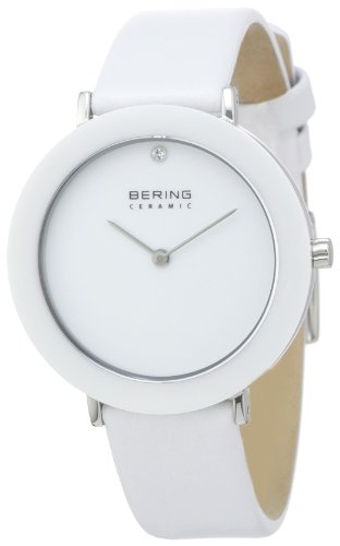 BERING Time 11435-654 Womens Ceramic Collection Watch with Calfskin Band and scratch resistant sapphire crystal. Designed in Denmark.